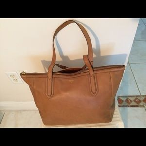 Fossil Sydney Shopper Camel Leather Tote